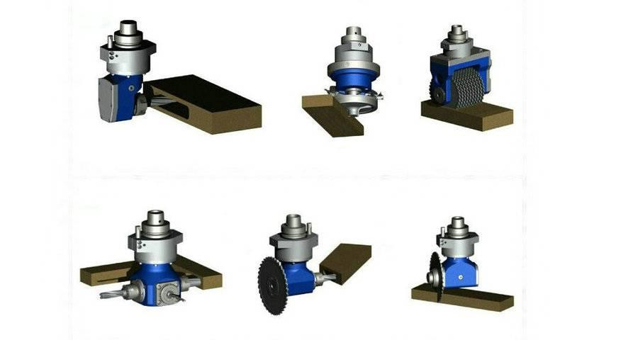 Verschiedene Aggregatwerkzeuge für HSK-, BT- und ISO-Spindeln, Sägeblätter, Formwerkzeuge, Bohrer, Fräser