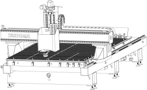 Illustration einer CNC Portalfräsmaschine